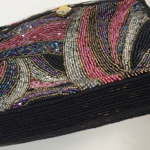 Bags - Beaded Evening Bag with Gold Chain